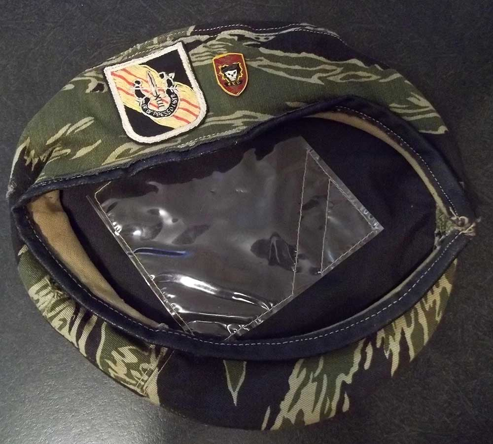 d1399b32 Vietnamese made tiger stripe beret with hand embroidered 5th Group flash  and Command and Control Central beercan insignia which has obviously been  on the ...